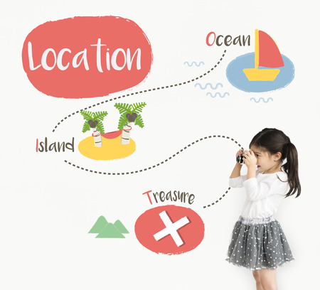 Kids playing treasure hunt graphic