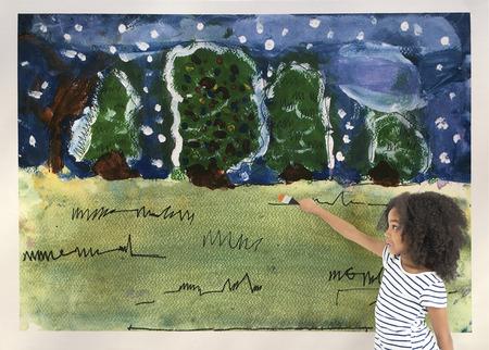 子供たちは楽しい冬の森アートワーク