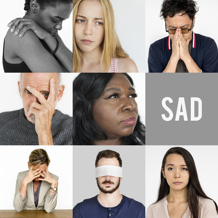 headaches: Collage of people face expression worried unhappy