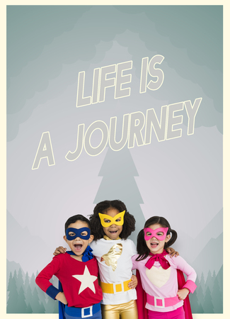 Group of superheroes kids with Life is a Journey graphic