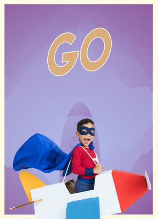 紙飛行機グッズや誤嚥 word グラフィックを持つスーパー ヒーロー少年 写真素材