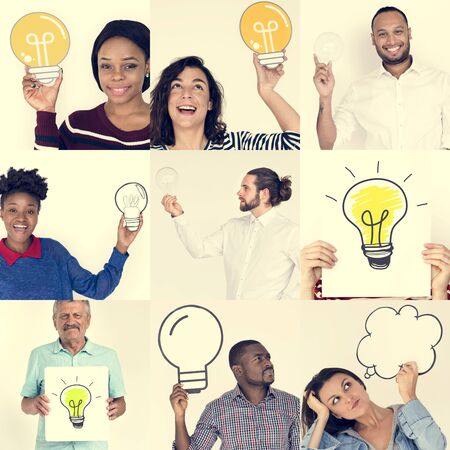 papercraft: Set of Diverse People Holding Light Bulb - Studio Portrait Stock Photo