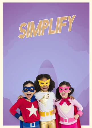 Group of superheroes kids with Simplify word graphic
