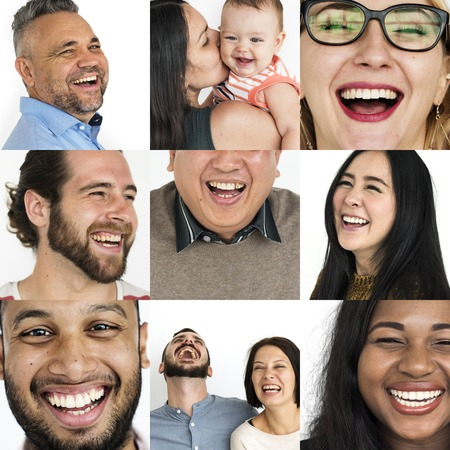 Collage of people with laughing face expression