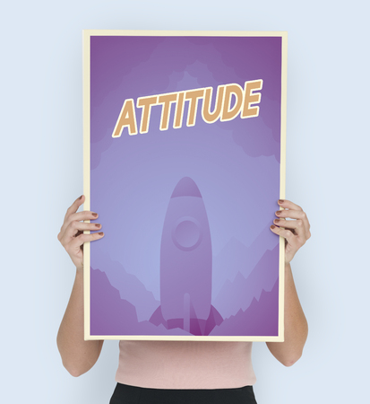 Person holding aspiration word quote banner board Stock Photo