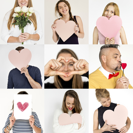 Set of Diverse People with Heart Love Theme - Studio Collage