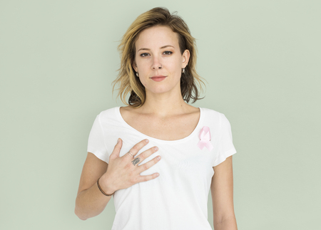 Woman Smiling Happiness Breast Cancer Awareness Portrait Stock fotó