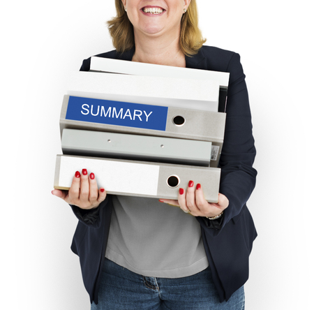 expand: Woman carrying a stack of files with the word Summary