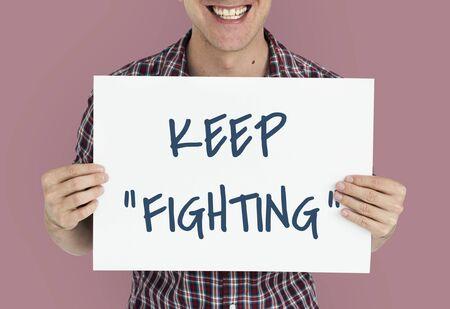 動機の単語メッセージを戦い続ける 写真素材 - 80577006