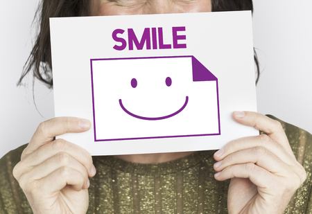 Paper Sheet Smiling Happiness Word Stok Fotoğraf - 80885217