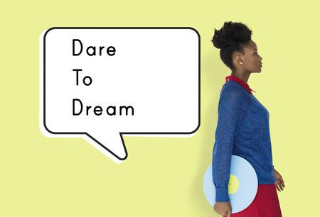 Dare Dream Volg Motivatie Aspiratie Stockfoto