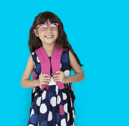 Little Girl Backpack Glasses Smiling Stock Photo