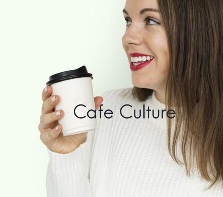 Coffee Culture Relax Take a Sip Word Banco de Imagens