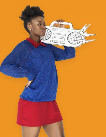 African Female holding Illutration Radio