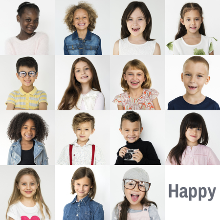 People Set of Diversity Cheerful Kids Studio Collage 版權商用圖片 - 80699222