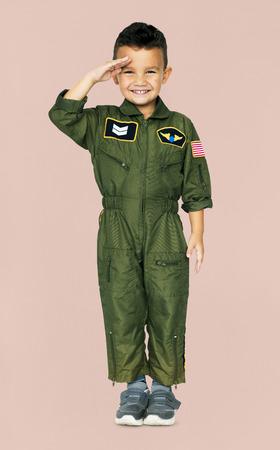 coveralls: Little Boy in Military Pilot Aviation Costume Studio Portrait Stock Photo