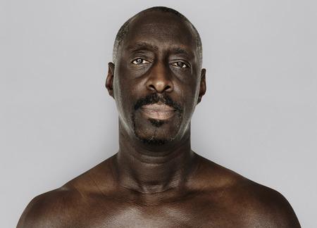 Adult Man Serene Face Expression Studio Portrait