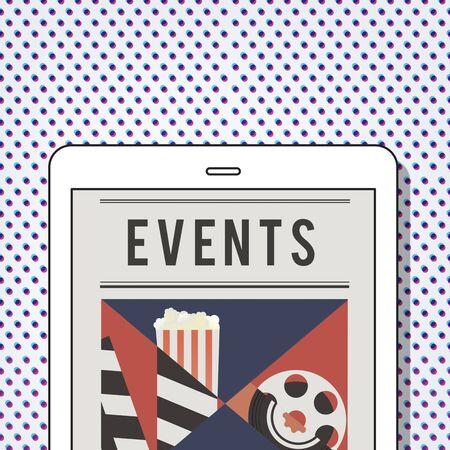 Illustration of movies theatre media entertainment on digital tablet Фото со стока