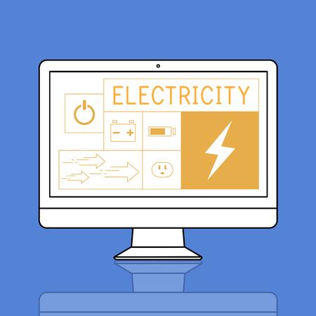 Ilustración de la generación de energía sostenible de ahorro de energía en la computadora Foto de archivo - 80752190