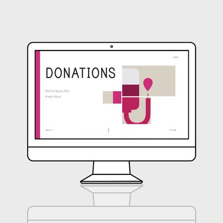 Illustration de la campagne de don de sang sur ordinateur Banque d'images - 80750786