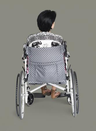 Disable Adult Woman Sitting on Wheelchair Studio Portrait Zdjęcie Seryjne