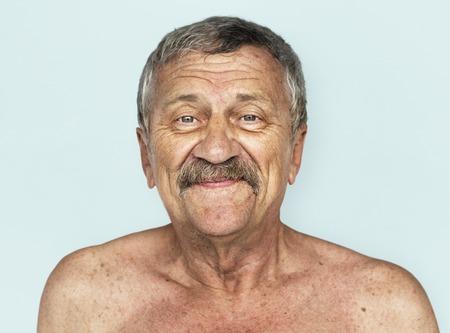Senior Adult Man SmilFace Expression Feeling Studio Portrait Stock Photo