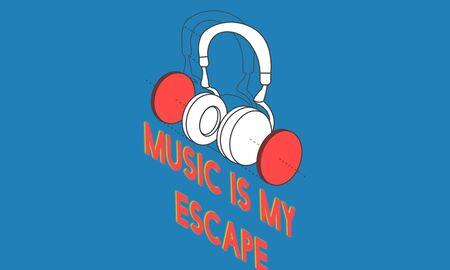 음악 엔터테인먼트 헤드폰 아이콘 그래픽