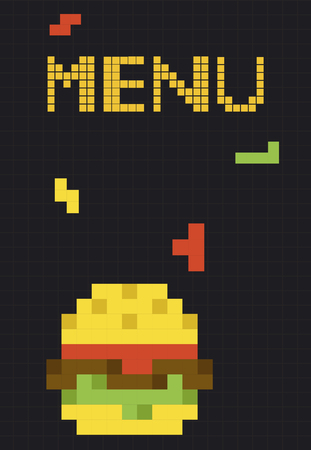 8 bit illustration of tasty burger meal