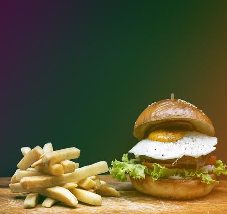 Hamburger Fries Food Meal Savory