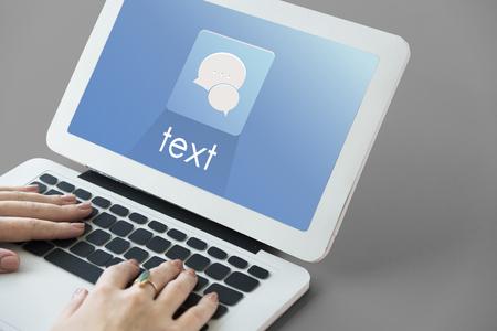 Hands Laptop Chat Conversation Bubble Graphic Stock Photo
