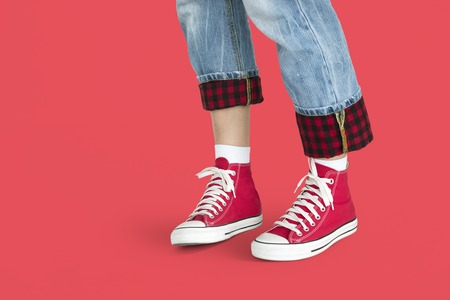 Red Sneakers Jeans Studio Concept Stock Photo