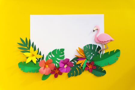 Flamingo Nature Papercraft Feuilles Plantes Banque d'images - 80751383