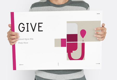Man holding banner of blood donation campaign Banco de Imagens