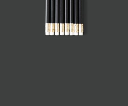 Black Wooden Pencils with Eraser Studio Isolated