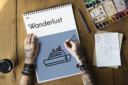 wanderlust: Cruise Boat Nautical Ocean Sea Ship Tour Concept