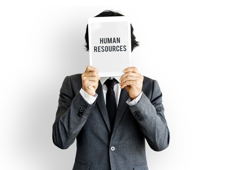 Human resources word on solo studio portrait 版權商用圖片