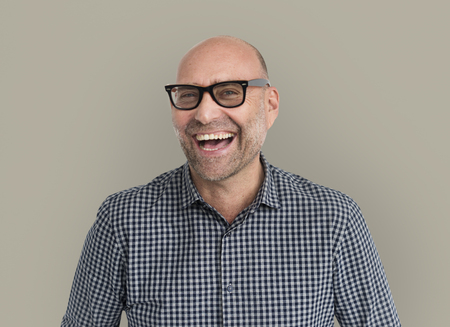 rimmed: Caucasian Man Cheerful Happy Portrait Stock Photo
