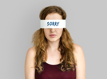 Sorry Forgive  Apologetic Person Sentiments Stock Photo