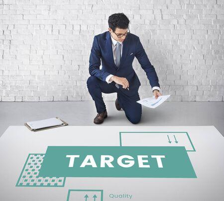 Businessman progress for the goals target