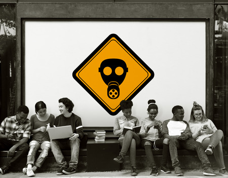 Group of Friends Sitting with Radioactivity Protection Mask Banner Behind