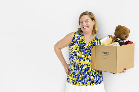 Woman Studio Portriat Casual Carrying a Box Isolated Stock Photo