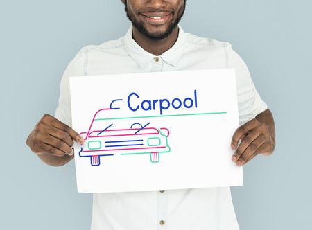 announce: Man holding banner of automotive car rental transportation advetisement