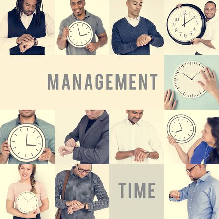 Set of Diverse People With Time Management Studio Collage 版權商用圖片