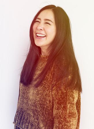 Asian Woman Smile Face Expression Studio Portrait