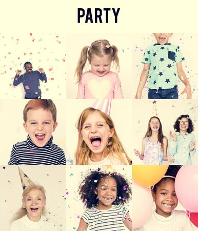 children party: Studio People Collage Fun Concept Stock Photo