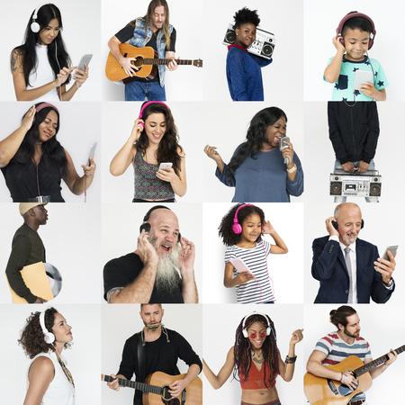 entertaining: Set of Diversity People Listening Music Studio Collage