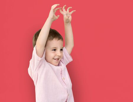 Little Boy Hands Up Cute Adorable Cheerful Stock Photo