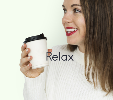 Coffee Culture Relax Take a Sip Word Stock Photo