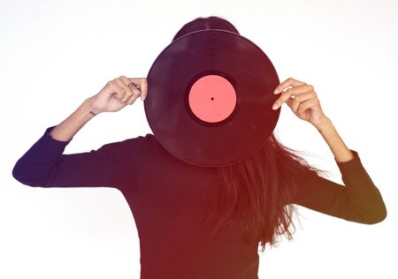 Woman Face Covered With Music Record Studio Stock Photo