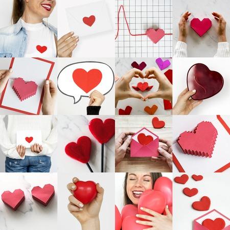 Adult Woman with Love Heart Artwork Studio Collage 版權商用圖片